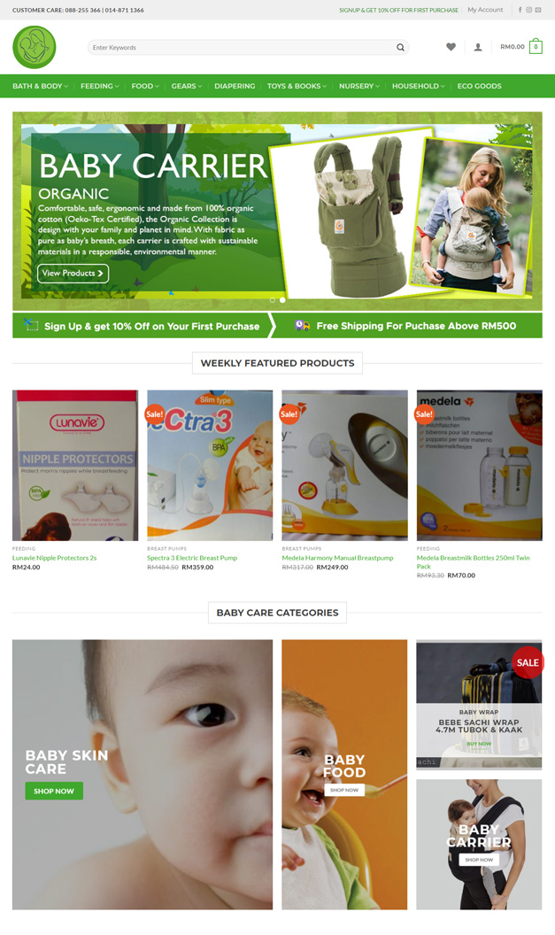 E-commerce website for baby store