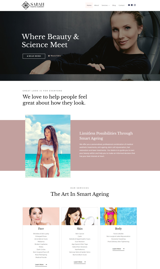 Web design for Aesthetic service