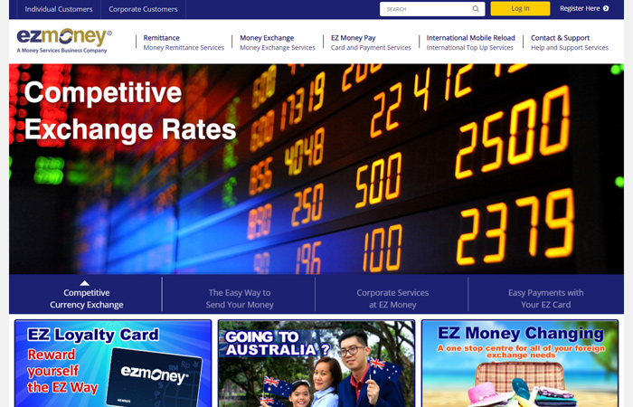 Website design for money exchange company