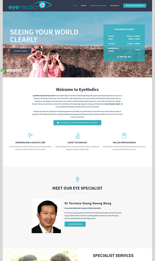 Website Design for Eye Specialist