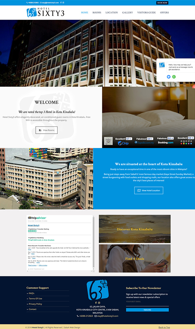 Web Design for Hotel Sixty3